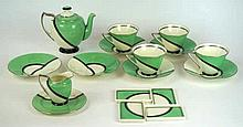 A Royal Doulton Art Deco tea service  Decorated in the De Luxe pattern, com