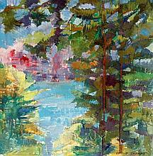 Ottilie Tolamsky (Australian/British, 1912-1977) - 'Woodland view' Oil on c
