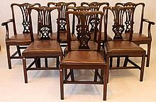 A matched set of eight (6+2) good quality 19th Century 'Chippendale Revival