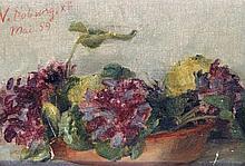 Victoria Fantin-Latour, nee Duborg (French, 1840-1926) - 'Still life' Oil o