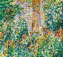 Ronald Morton (British b.1918) - 'Hampstead Garden' Oil on canvas, signed,
