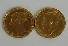 The Queen Victoria gold sovereign  Melbourne mint, 1886, George V gold sove