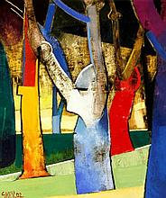 Geoffrey Key (British, b.1941) - 'Park Trees' Oil on canvas, signed and dat