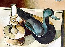 Geoffrey Key (British, b.1941) - 'Candlestick & Decoy' Oil on board, signed