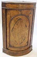 A Victorian marquetry inlaid burr walnut veneered bowfront standing corner