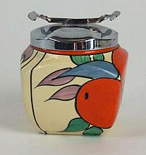 A Clarice Cliff bizarre preserve jar and cover  Of square proportions, with