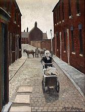 Roger Hampson (British, 1925-1996) - 'Old woman with pram' Oil on board, si