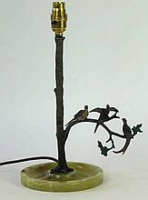 Post war bronze cylindrical table lamp Modelled in the form of a tree, havi