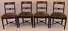 A set of four George IV mahogany dining chairs  The openwork backs above re