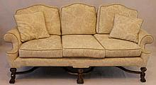 A William & Mary style upholstered camel back sofa, 20th Century Upholstere
