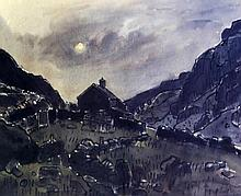 Sir Kyffin Williams RA KBE (Welsh, 1918-2006) - 'Cottage and hills' Pencil