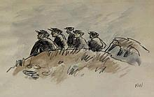 Sir Kyffin Williams RA KBE (Welsh, 1918-2006) - 'Five Miners on a Hill' Wat
