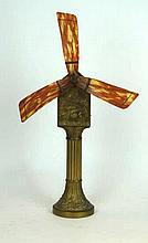 An Art Nouveau brass table fan Originally from the Metropol Monte Carlo, re