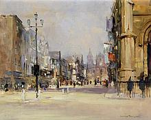 George Thompson (British, 20th Century) - 'Bridge Street, Chester' Oil on b