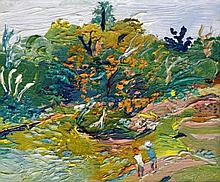 Fred Yates (British, 1922-2008)- 'In the gardens' Thick impasto oil on canv