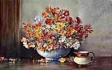 Noel Harry Leaver (British, 1889-1951)- 'still life with vase of flowers an
