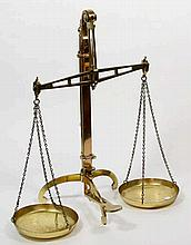 A set of W & T Avery brass balance scales, circa 1900 The beam stamped W