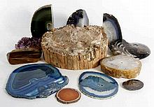 A collection of various geodes and geological specimens Comprising various
