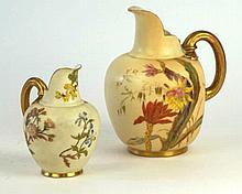 Two Royal Worcester Blush Ivory flatback jugs The two graduated jugs dated