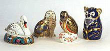 A collection of Royal Crown Derby Imari paperweights To include swan seated