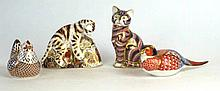 A collection of Royal Crown Derby Imari paperweights To include Bengal tige