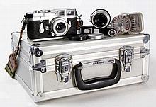 A Leica M3, circa 1957 Serial number 857634, chrome with a Leitz Elmar F-5c