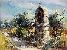Pierre Goutard (French, 20th Century) - 'Wayside Shrine' Oil on canvas, sig