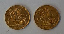 A Queen Victoria gold sovereign  London mint, dated 1893, George V gold sov