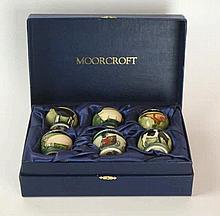 Moorcroft pottery, a set of six egg cups In the Farmyard Series, designed b