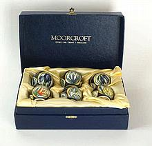 Modern Moorcroft, set of six egg cups 'Parisian Dream', designed by Sharne