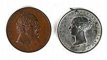 A William IV bronze Coronation medal, dated 1830 A Queen Victoria white metal Coronation medal dated June 28th 1838, Queen Victoria Diamond Jubilee medal dated 1897. (3)