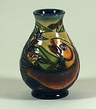 Modern Moorcroft pottery vase of baluster form Decorated in the Trout patte