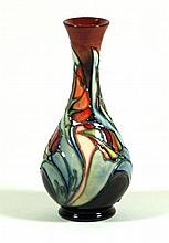 Modern Moorcroft pottery vase of baluster form Decorated in the Tulip patte