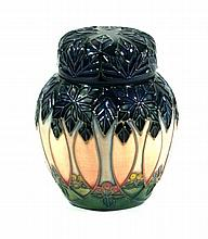 Modern Moorcroft pottery ginger jar and cover Decorated in the Cluny patter