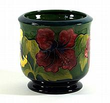 Moorcroft pottery jardinière of cylindrical form Decorated in the Hibiscus