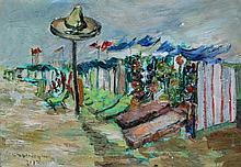 Hilda Washington (20th Century) - 'Spanish Beach' Oil on canvas, signed and