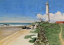 H Grieg (South African, 20th Century) - 'Lighthouse' Oil on board, signed a
