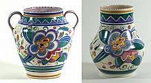Poole Pottery two pieces each having Art Deco decoration  To include a twin