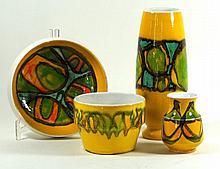 Poole pottery Delphis range, four pieces Each having multi-coloured stylise