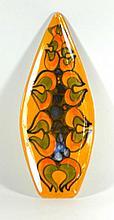 Poole pottery Delphis range spear  Having multi-coloured stylised decoratio