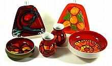 Poole pottery Delphis range, six pieces To include a large circular bowl, d