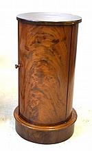 A Victorian style mahogany cylindrical pedestal pot cupboard The hinged doo