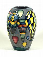 A modern Moorcroft vase of ovoid form Decorated in the Balloons pattern, De