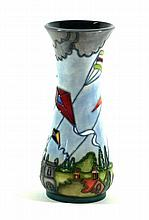 A modern Moorcroft vase of wasted cylindrical form  Decorated with Kites in