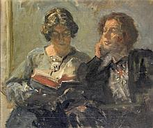 Danish School (early 20th Century) - 'Two Ladies' Oil on canvas, approx 37x
