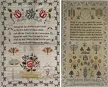 Early 19th Century hand stitched sampler Done by Mary Ann Harris, scene dep
