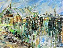 Hilda Washington (20th Century) - 'Fleetwood Inner Harbour and Fish Market'