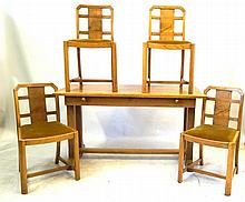Early 20th century light oak dining suite Comprising Easy Z Way, one motion
