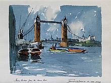 Edward Wesson RI RBA RSMA (British, 1910-1983) - 'London Bridge from the Lo
