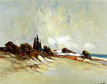 Christophe Charpides (French, 1902-1992) - 'Coastal Landscape'  Oil on canv